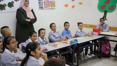 تجمع للطلبة في مدرسة سلوان خلال أسبوعهم المدرسي الأول. الحقوق محفوظة للأونروا، ٢٠١٩. تصوير مروان بغدادي