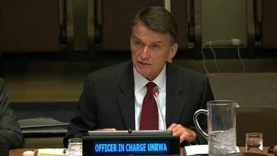 Officer in Charge of UNRWA, Mr. Christian Saunders addresses the United Nations Fourth Committee at United Nations Headquarters in New York. © 2019 UN WebTV photo.