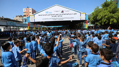 Students of Sheikh Khalifa Bin Zayed Al Nahyan Elementary Co-Educational School in northern Gaza   ©2019 UNRWA Photo by Ibrahim Abu Eshibeh