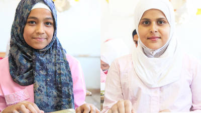 Zahra'a (left) and Sondous (right) attend class at  the UNRWA al-Faloujeh alternative school in Yalda, south of Damascus, Syria. © 2019 UNRWA Photo by Taghrid Mohammad