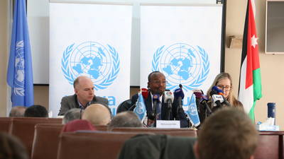Director of UNRWA Affairs in Jordan Mr. Mohammed Adar (center), Deputy Director of UNRWA Affairs (right) and the Director of Planning Sam Rose launched the 2020 budget appeal for US$ 149 million. 2020 UNRWA photo by Dania Al Batanyeh.