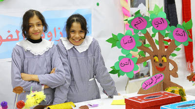 "Students from UNRWA Al Zaitoun Preparatory Girls' School ""C"" presenting their hand crafts products. © 2020 UNRWA Photo by Khalil Adwan."
