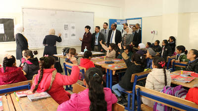 H.E. Ms. Ine Eriksen Søreide, the Minister of Foreign Affairs of Norway visits the  UNRWA Amman New Camp Preparatory Girls' School in Jordan. © 2020 UNRWA photo by Daniah Al-Batayneh