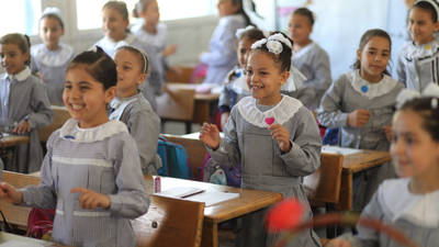 Students in their first week back to school at UNRWA Jabalia Elementary Co-educational School in Gaza. @ 2020 UNRWA Photo by Khalil Adwan