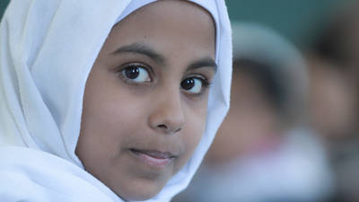 "Occupied Palestinian Territory Emergency Appeal 2019Nada Al-Udaini attends class at the UNRWA Deir al Balah Elementary Girls School ""A"" in Gaza. © 2018 Photo by Hussein Jaber"