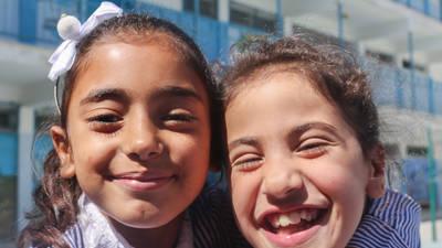 Palestine refugee students at the UNRWA Jalazone Girls' School in the West Bank. © 2018 UNRWA Photo by Marwan Baghdadi
