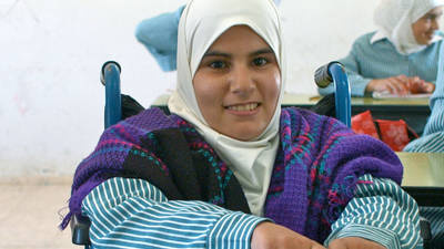 A Palestine refugee student in class at the  UNRWA Budrus Secondary School. © 2008 UNRWA Photo by John Tordai.