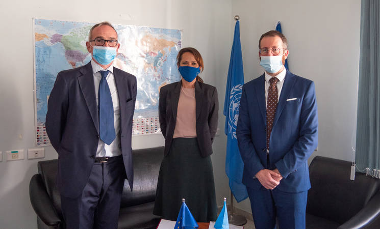 Head of Section, Macroeconomic Support, Social Development and Institution Building Odoardo Como (left), Deputy Head of EU Delegation Maria Velasco (middle) and Acting Director for Partnerships Marc Lassouaoui (right) signed an additional contribution agreement for UNRWA ©2020 UNRWA Photo