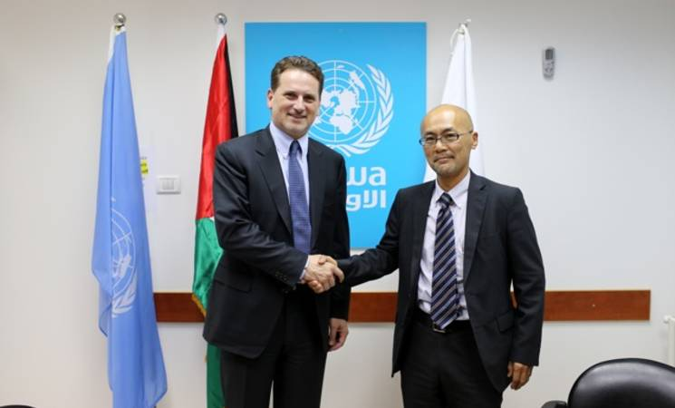 UNRWA Commissioner-General Pierre Krähenbühl, left, with Junya Matsuura, Ambassador for Palestinian Affairs and Representative of Japan to the Palestinian Authority.