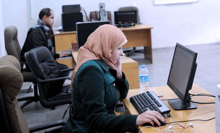 """Gaza Gateway helps us to improve our skills. Young people do not have to travel away anymore to find opportunities,"" Hanin, a 23 year old Project Associate with UNRWA's Gaza Gateway. © UNRWA Photo by Shareef Sarhan"