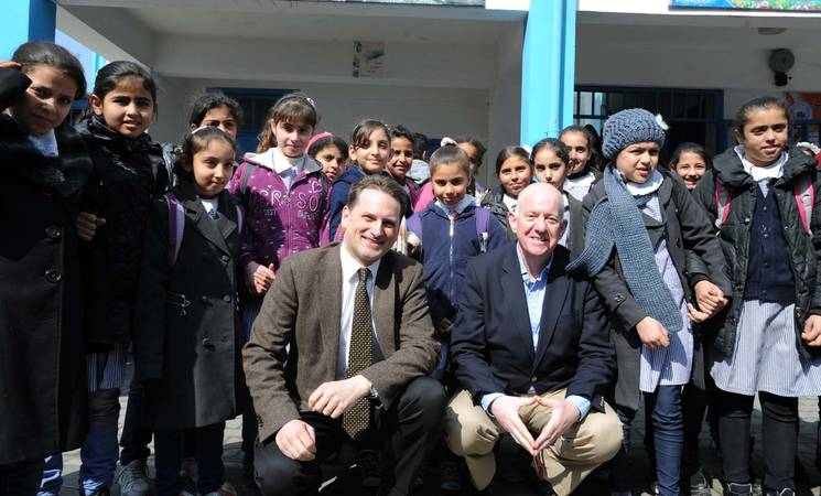 Irish Minister for Foreign Affairs and Trade Charlie Flanagan (right) with UNRWA Commissioner-General Pierre Krähenbühl. © UNRWA Photo by Shareef Sarhan