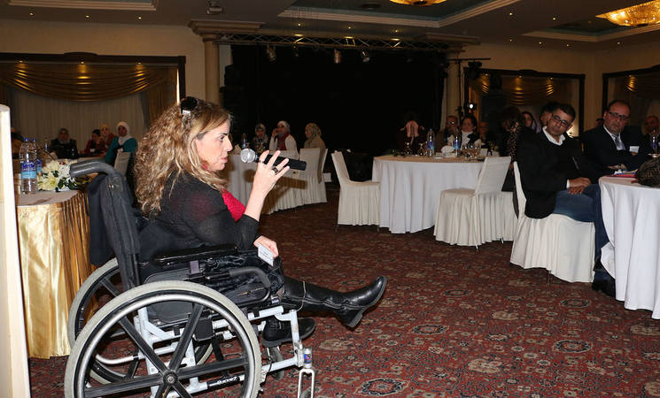 Asia Yaghi, president of I am Human Society for Rights of People with Disabilities  speaks about how people with disabilities have benefited from the Marka Project. © 2015 UNRWA Photo