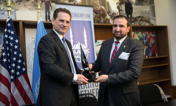 UNRWA Commissioner-General Pierre Krähenbühl met with IR USA Chief Executive Officer Mr. Anwar Ahmed Khan on March 17, 2015 to thank IR USA for its recent contributions in response to the summer 2014 hostilities, totaling US$3 million. The meeting took place at the UNRWA Representative Office in Washington, D.C. March, 2015. © 2015 UNRWA photo by Sarah Lord