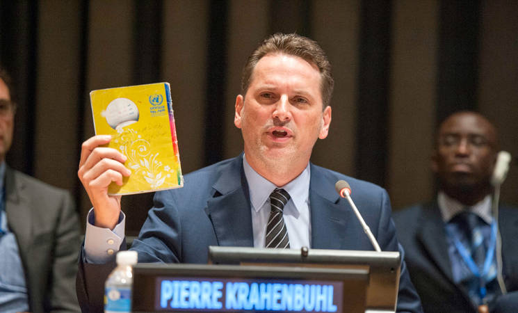 "Pierre Krähenbühl, Commissioner-General of the UN Relief and Works Agency for Palestine Refugees in the Near East (UNRWA), speaking at a commemorative event marking the 65th anniversary of UNRWA. The event took place under the theme, ""UNRWA@65: Sustaining Human Development and Protecting Rights of Palestine Refugees"". UN Photo/Cia Pak"