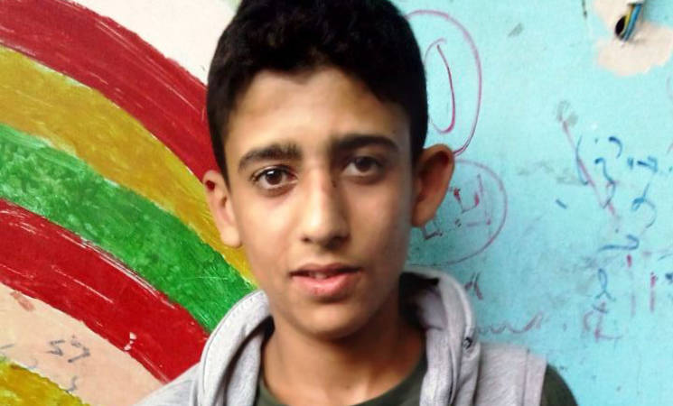 Sixteen-year-old Maher is one of 129 Palestine refugee students who left the besieged neighbourhood of Yarmouk to sit their ninth-grade exams in Damascus. © 2015 UNRWA Photo