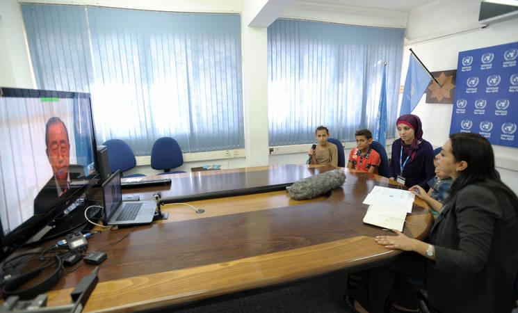 UN Secretary-General Ban Ki-moon in video call with children in Gaza. © 2015 UNRWA Photo