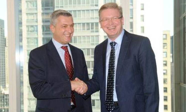 EU Commissioner and Director for Enlargement and Neighborhood Policy, Stefan Fule, ( right) and Commissioner General of UNRWA, Filippo Grandi