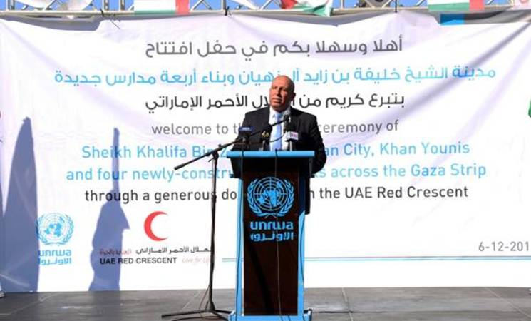 Mr Sufian Abu Zayda, Representative of the United Arab Emirates Red Crescent (UAERC) in Gaza, speaking at the opening ceremony of the Sheik Khalifa Bin Zayed al Nahyan City in Khan Younis organised by UNRWA on 6 December 2015. © 2015 UNRWA Photo by Khalil Adwan