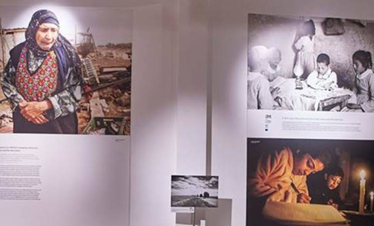 "A picture from the ""The Long Journey"" photo exhibition (21.11.15 – 10.1.16) held in the renowned BOZAR gallery in Brussels; the exhibition is based on photos from UNRWA archives and portrays the plight and journey of Palestine refugees since 1949."