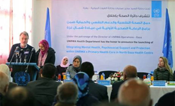 Mr. Bo Schack, Director of UNRWA Operations in Gaza, is giving a speech at the Saftawi Health Centre in North Gaza during the launch of an UNRWA pilot project to integrate psycho-social support within its primary health care services. Gaza Photo credit: ©UNRWA Gaza 2016. Photo by Tamer Abu Hamam