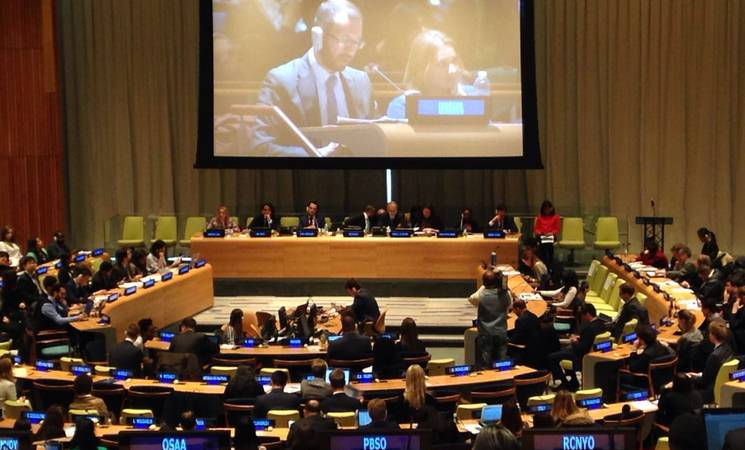 UNRWA engages with young people on ways in which they can play an active role in the implementation of the 2030 Agenda for Sustainable Development, together with UNICEF, UNFPA and the International Trade Centre (ITC), as part of the United Nations ECOSOC Youth Forum in New York on 1 and 2 February 2016. © 2016 UNRWA Photo by Johanna Zoellner