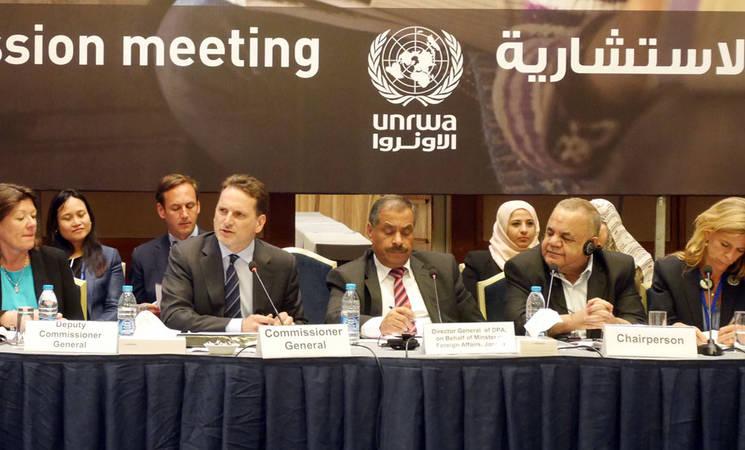 UNRWA Commissioner-General Pierre Krähenbühl (second from left) addresses UNRWA Advisory Commission meeting in Amman. © 2016 UNRWA Photo by Isabel de la Cruz