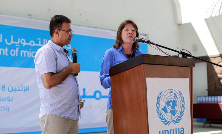 Deputy Commissioner-General of UNRWA Sandra Mitchel speaks at the opening ceremony of the trade fair. © 2016 UNRWA Photo by Rushdi Sarraj