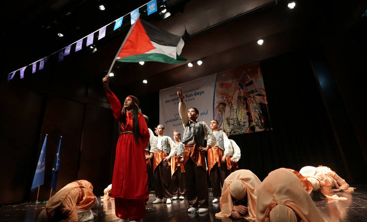 Hundreds of children attend the closing ceremony of EU-UNRWA Fun Days in Ramallah
