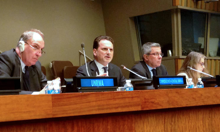 UNRWA Commissioner-General Pierre Krähenbühl (second from left) speaking at UN General Assembly's Fourth Committee meeting held at the UN Headquarters in New York. © 2016 UNRWA Photo