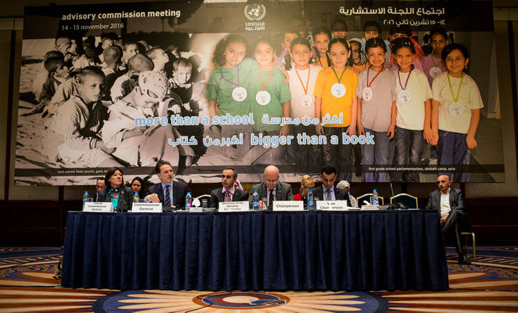 UNRWA Commissioner-General Pierre Krähenbühl (second from left) addresses the UNRWA Advisory Commission second bi-annual meeting held in Amman. © 2016 UNRWA Photo by Michelle Hamers