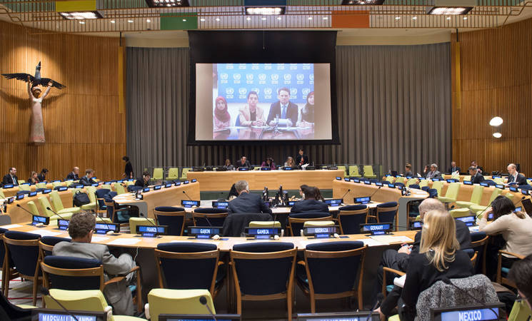 General view of the first meeting of the Ad Hoc Committee of the seventy-first session of the General Assembly for the announcement of voluntary contributions to UNRWA. UN Photo/Eskinder Debebe