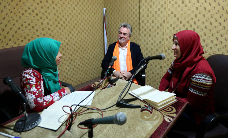 The Director of UNRWA Operations in Gaza, Mr. Bo Schack, participated in the first session of an awareness-raising radio programme – focusing on topics such as early marriage, Gender-Based Violence, women's rights and women's economic empowerment – launched by the UNRWA communications with communities (CwC) team, in cooperation with the Gaza-based Alwan radio station. © 2016 UNRWA Photo