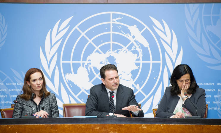 UNRWA Commissioner-General Pierre Krähenbühl (centre) launches the 2017 UNRWA emergency appeals for the oPt and the Syria regional crisis, Palais des Nations, Geneva. 9 January 2017. UN Photo by Violaine Martin