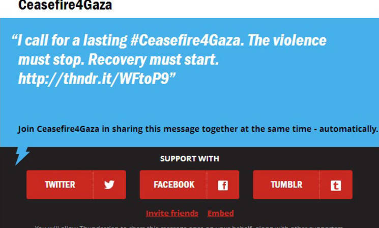Protect the People of Gaza: Join the Ceasefire4Gaza Thunderclap