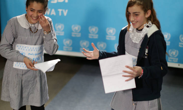 Eleven-year-old Yara Deeb (left) and 12-year-old Menna al-Khour (right) perform during the casting auditions in the UNRWA TV studio at the Gaza Field Office. © 2017 UNRWA Photo by Hussain Jaber