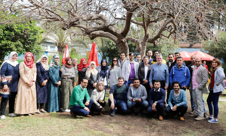 Gaza Field Communications Office team. © 2017 UNRWA Photo by Tamer Hamam