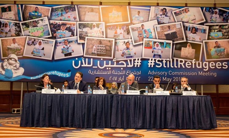 المفوض العام للأونروا بيير كرينبول (الثاني من اليسار) يخاطب ممثلي الدول الأعضاء في الجلسة الإفتتاحية للأجتماع السنوي الأول لللجنة الإستشارية للأونروا للعام 2017. الحقوق محفوظة للأونروا 2017، تصوير مروان بغدادي