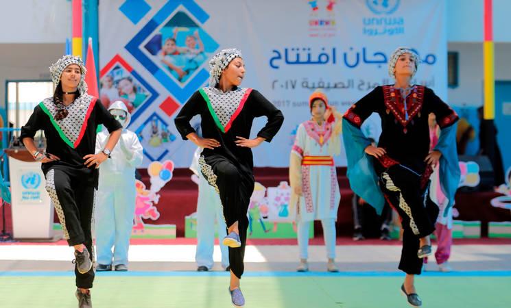 Summer Fun Weeks (SFW) opening ceremony in the Zaitoun Preparatory Girls School (B) in Gaza city. Photo credit: ©UNRWA Gaza 2017. Photo by Rushdi Al-Saraj.