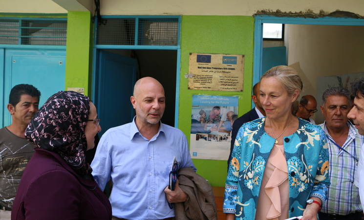 UNSCOL Special Coordinator to Lebanon Sigrid Kaag and Director of UNRWA Affairs in Lebanon Claudio Cordone during their visit to Ein El Hilweh camp in Lebanon, 25 July 2017. © 2017 UNRWA Photo by Firas Abo Aloul
