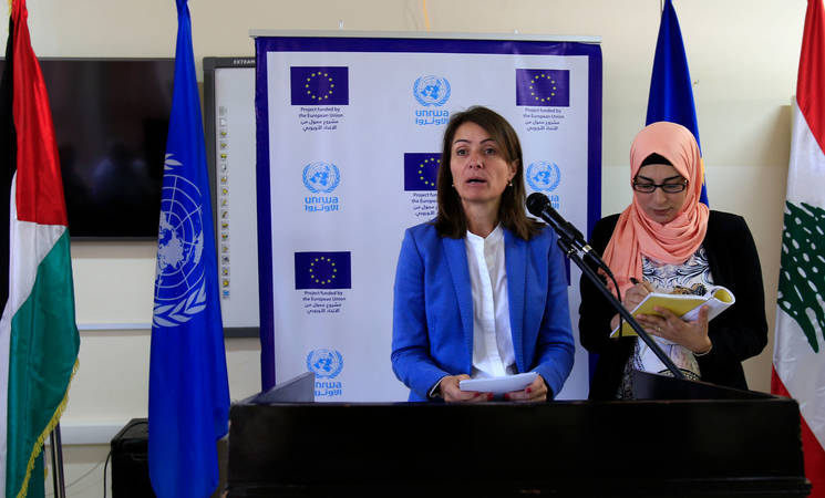 "Speaking at the Joint Closing Ceremony in Saida, Lebanon, the Head of the Delegation of the European Union to Lebanon, Ambassador Christina Lassen, noted: ''Through the projects that we close now, more than 206 families now have access to shelters, eight health clinics were fully rehabilitated and furnished."" © 2017 UNRWA Photo by Ali Hashisho"