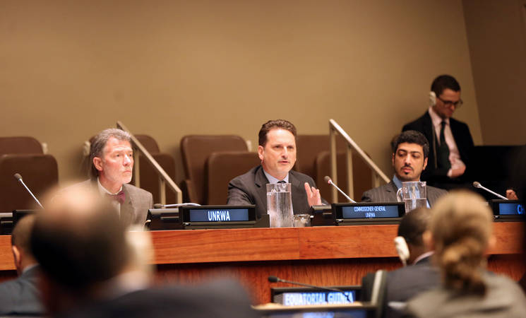 UNRWA Commissioner-General Pierre Krähenbühl (centre) speaks during the General Assembly's Fourth Committee discussions on aspects of the Agency's work. Also pictured, the Director of the UNRWA Representative Office in New York, Mr. Peter Mulrean (left), and Fourth Committee Vice-Chair Mr. Ahmed Abdelrahman Ahmed Almahmoud of the United Arab Emirates (right). Photo by Thejasvi Ramu