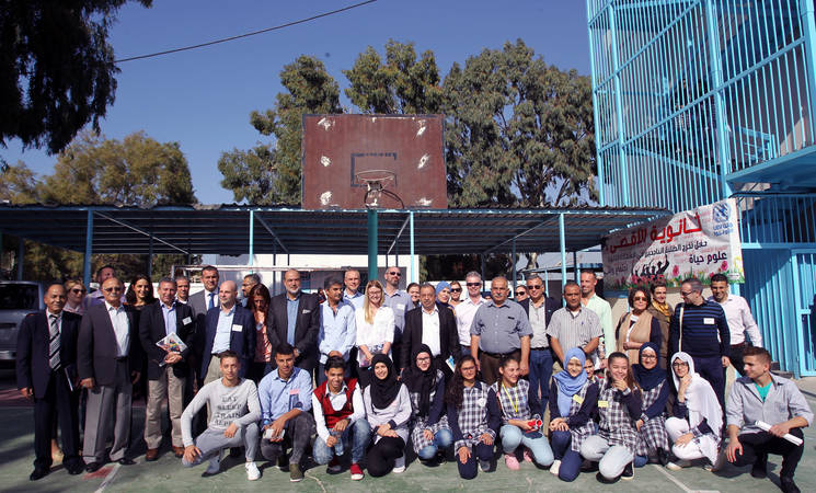 The members of the Advisory Commission, accompanied by the Director of UNRWA Affairs in Lebanon, Claudio Cordone, met with community representatives, in particular youth groups during their visit to Lebanon. © 2017 UNRWA Photo by Marwan Naamani