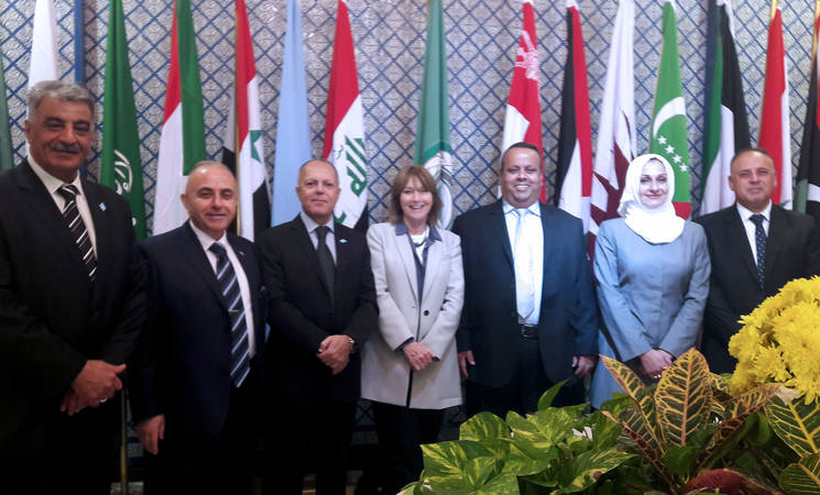 (From Left) Samir Abdelrahim, Chief Field Education Programme in Syria, Bassam Shawa, Chief of Education Programme Coordination, Salem Dib, Chief Field Education Programme in Lebanon, Caroline Pontefract, Director of Education Programme, Farid Abu Athra, Chief Field Education Programme in Gaza, Orouba Al Mousa Chief Field Education Programme in Jordan, and Muaweyah Amar Chief Field Education Programme in the West Bank. © 2017 UNRWA Photo