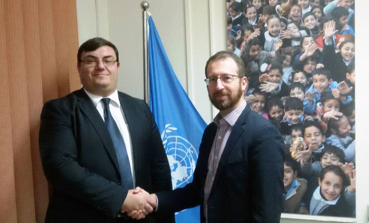 Dr. Andrea Nasi, Head of Mission at the Austrian Representative Office in Ramallah, and Marc Lassouaoui, Chief of the UNRWA Donor Relations Division © 2017 UNRWA Photo