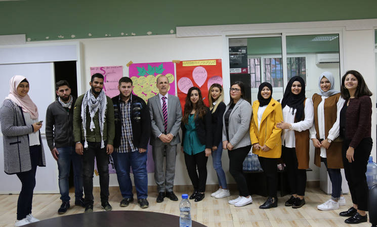 The Ambassador of the Netherlands to Lebanon, Jan Waltmans, visited the Siblin Training Centre in South Lebanon to meet students benefiting from projects funded by the Netherlands and discuss the challenges that Palestine refugee youth face. © 2017 UNRWA Photo by Wissam Zeid