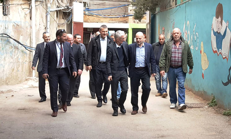 The Under-Secretary-General for Humanitarian Affairs and Emergency Relief Coordinator, Mark Lowcock, UN Resident and Humanitarian Coordinator for Lebanon, Philippe Lazzarini, the Director of UNRWA Affairs in Lebanon, Claudio Cordone and Head of OCHA Lebanon Nathalie Fustier, visited Burj Barajneh camp in Beirut where they witnessed firsthand the circumstances in which Palestinian and Syrian refugees are living. © 2018 UNRWA Photo