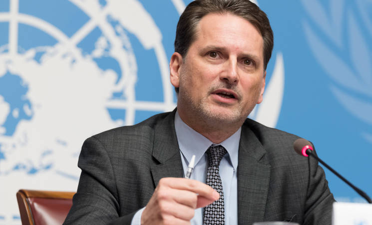 UNRWA Commissioner-General, Pierre Krӓhebühl, launches the UNRWA Emergency Appeal for Syria, Gaza and the West Bank during a press conference at the UNOG Palais des Nations in Geneva on 30 January 2018. © 2018 UNRWA Photo