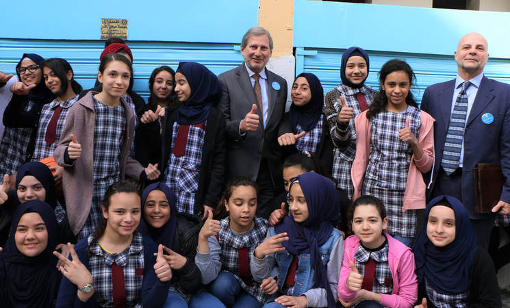 The European Union (EU) Commissioner for Neighbourhood Policy and Enlargement Negotiations, Johannes Hahn, and the Director of UNRWA Affairs in Lebanon, Claudio Cordone, during the inauguration ceremony of renovated school premises in Beddawi camp, Lebanon. © 2018 UNRWA Photo by Maysoun Mustafa