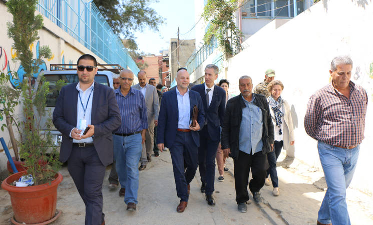 The Minister of Foreign Affairs and Cooperation of Monaco, his Excellency Gilles Tonelli, visited Beddawi camp in north Lebanon accompanied by the Director of UNRWA Affairs in Lebanon, Claudio Cordone. © 2018 UNRWA Photo by Maysoun Mustafa