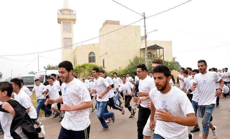 UNRWA Wadi Seer Training Centre Students run for the Dignity of Palestine refugees. © 2018 UNRWA Photo by Bruna Rego